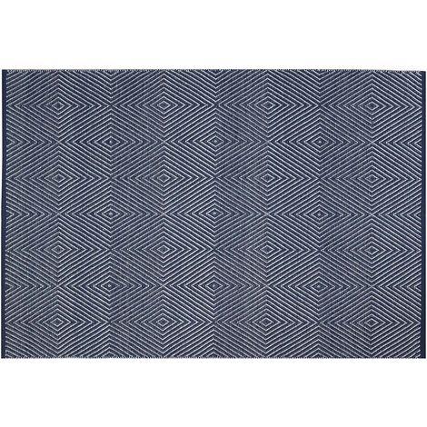 Tapis intérieur extérieur Zen bleu et blanc 270 x 180 cm - Bleu