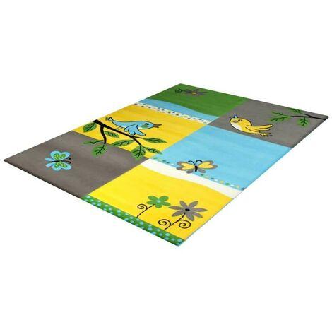 Tapis jaune pour chambre enfant Cuicui Gris 120x170 - Gris