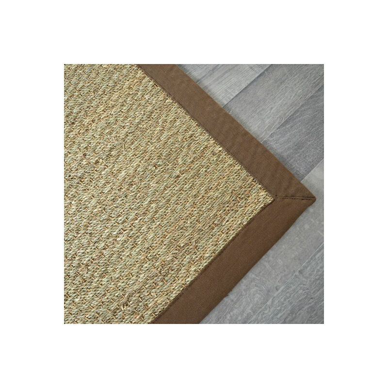 Tapis Jonc De Mer Varana Panama Ganse Coton Brun 160 X 230 Cm