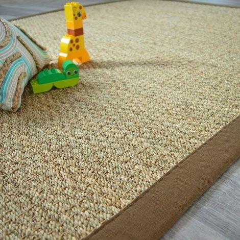 Tapis Jonc de mer Varana panama ganse coton brun - 140 x 200 cm ...
