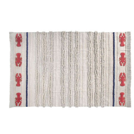 Tapis lavable en machine beige avec franges Mini Lobster L Lorena Canals Beige 170x240