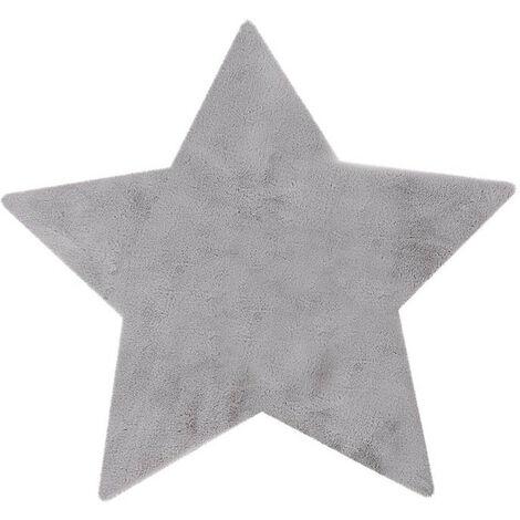 Tapis lavable en machine enfant argenté doux Star Argenté 86x86