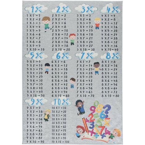 Tapis lavable en machine enfant plat gris Multiplication Gris 120x170