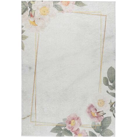 Tapis lavable en machine floral plat contemporain Malmedy Beige 80x300