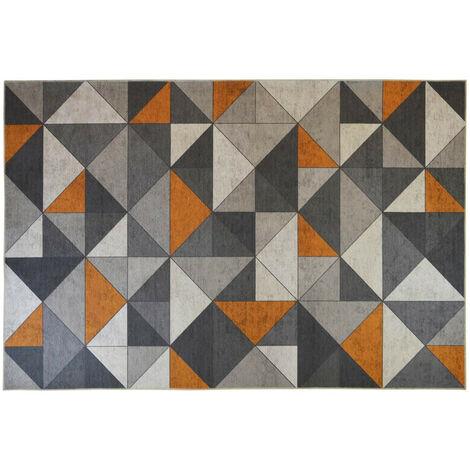 Tapis lavable en machine gris scandinave graphique Savone Gris 80x150