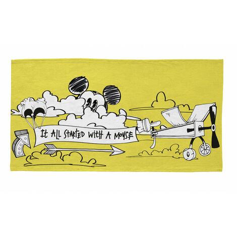 Tapis lavable en machine jaune Disney Mickey Aviator Jaune 80x150