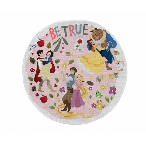 Tapis lavable en machine pour fille multicolore rond Couples Princess Multicolore Ø 90