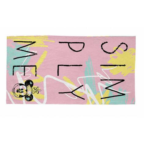 Tapis lavable en machine rose pour fille Disney Simply Minnie Rose 80x150