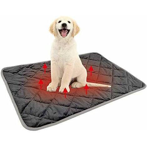 Tapis lavable pour chien Tapis chauffant antidérapant (Gris, M)