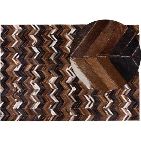 Tapis marron aux motifs à chevron 160 x 230 cm BALAT