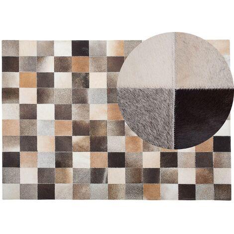 Tapis marron et beige en cuir 160 x 230 cm SOKE - 23967