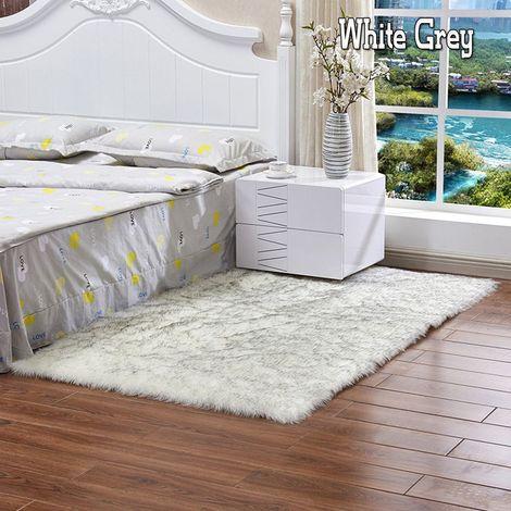 Tapis moelleux en fausse fourrure moelleux en peau de mouton antidérapant grand tapis de sol tapis tapis en peluche Sasicare
