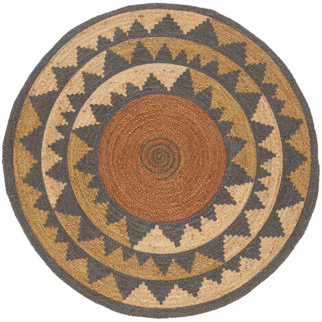Tapis naturel rond en jute - Mexico - Marron - Ø 150 cm