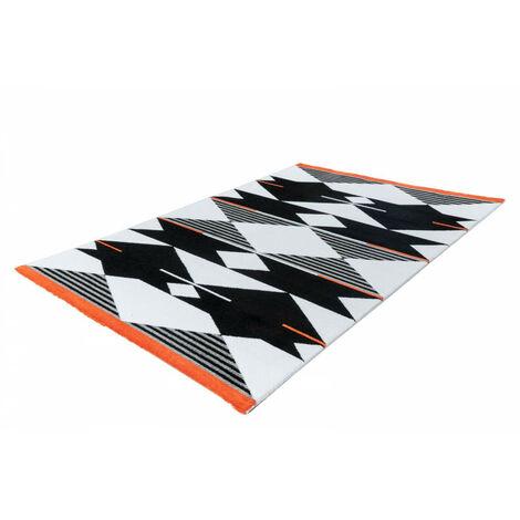 Tapis OMAN Noir / Blanc / Rouge 80cm x 150cm - Multicolore