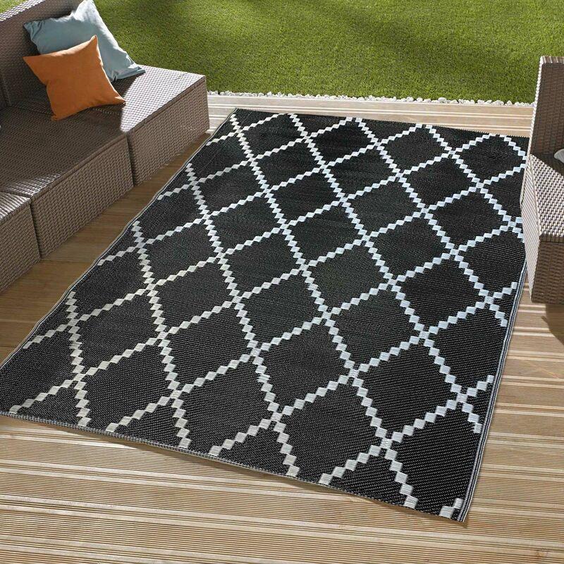 Tapis outdoor tressé recto/verso Noir 120 x160 cm - Noir
