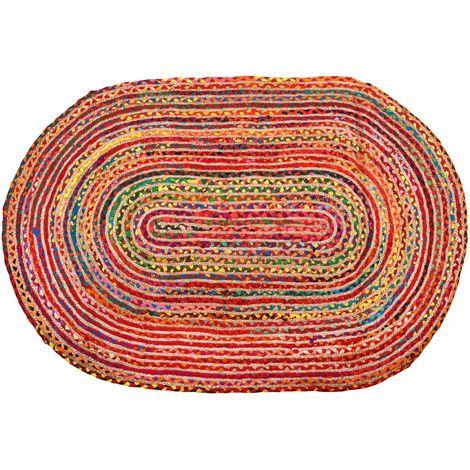 Tapis oval coloré en jute et coton 120 x 180 cm