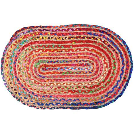 Tapis oval coloré en jute et coton 60 x 90 cm