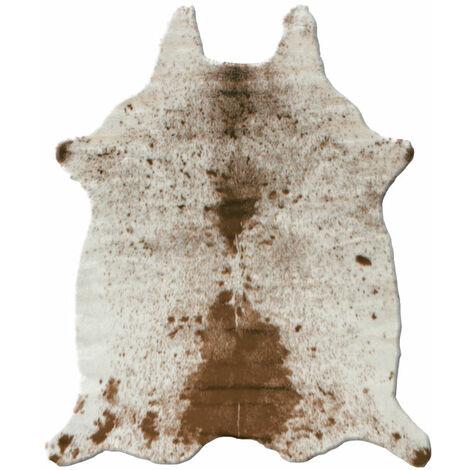 Tapis peau de bête - Imitation vache tachetée claire - Marron et blanc