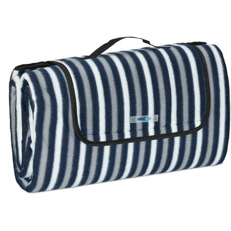 Tapis piquenique, XXL, 200x200 cm, natte polaire, isolation thermique, imperméable, poignée, bleu/gris/blanc