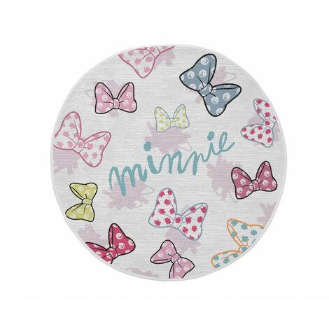 Tapis pour chambre de fille Disney rond blanc Dots Minnie Blanc Ø 90