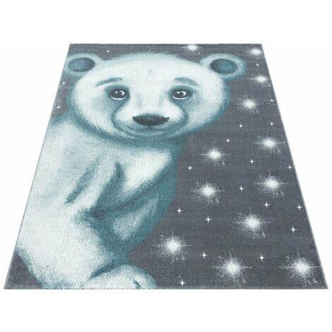 Tapis pour enfant motif ours doux Alice Bleu 120x170 - Bleu