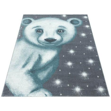 Tapis pour enfant motif ours doux Alice Bleu 80x150 - Bleu