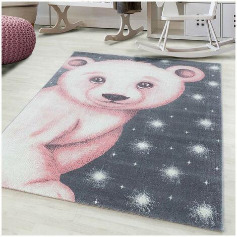 Tapis pour enfant motif ours doux Alice Rose 120x170 - Rose
