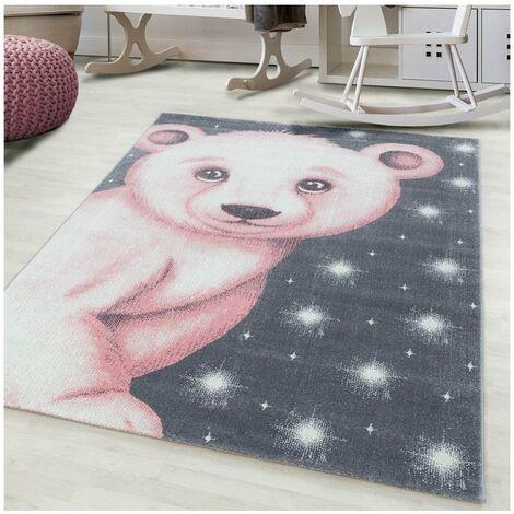 Tapis pour enfant motif ours doux Alice Rose 80x150 - Rose