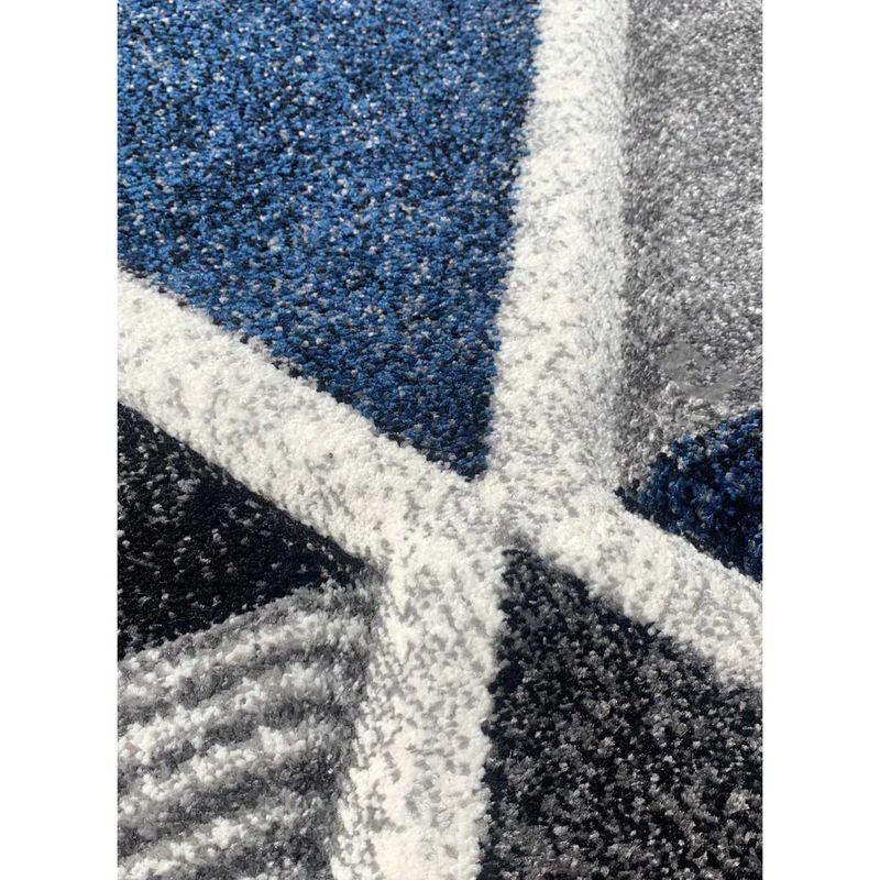 Tapis pour salon ambiance scandinave LOSANDESIGN bleu, gris, écru, noir