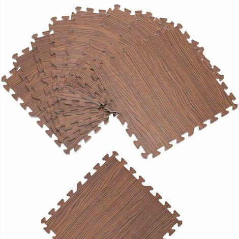 Tapis puzzle aspect bois 8 pièces gris ou brun Tapis de sol protection 45 x 45 cm anti-dérapant bruit hydrofuge