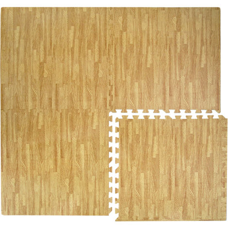 Tapis Puzzle de Sol eyepower en mousse EVA | 4 carrés 60x60cm + 8 cadres extensible | idéal pour marcher pieds nus s'allonger décor aires de jeux enfants gymnastique gym yoga judo isolant thermique acoustique | Couleur parquet en bois marron