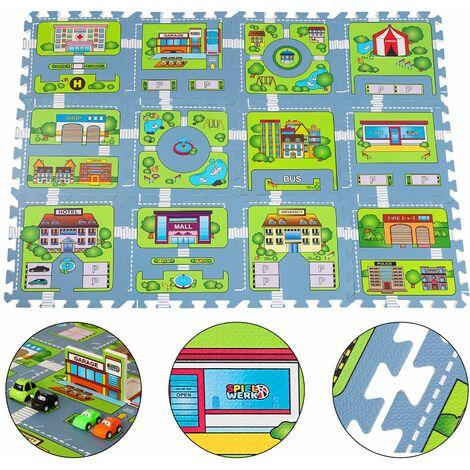 """Tapis puzzle sol jeu circuit voiture modèle """"petite ville"""" - 121x91cm 20 pièces jeu enfant mousse EVA surface de jeux tapis"""