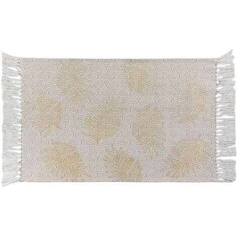 Tapis rectangle a franges 50 x 80 cm coton imprimé or Sunny gold