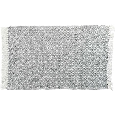 Tapis rectangle a franges 50 x 80 cm coton tissé Pithaya Anthracite