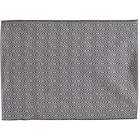 Tapis rectangle losanges noir blanc 120x170 cm - Blanc