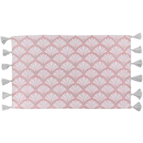 Tapis rectangle+pompons 50 x 80 cm coton imprime argent artchic Rose