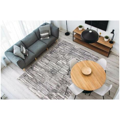 Tapis rectangle pour salon moderne Tildon Argenté 200x290 - Argenté