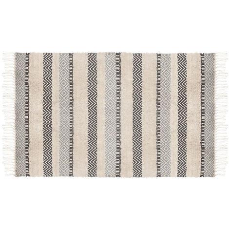 Tapis rectangulaire en coton et viscose, multicolore - Dim : L. 150 x l. 90 cm