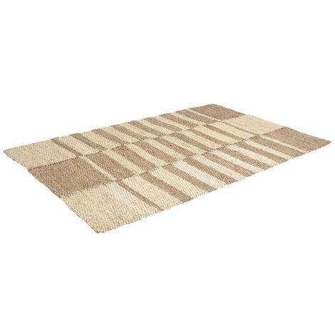 Tapis rectangulaire en jonc de mer et maïs - Dim : 120 x 180 cm