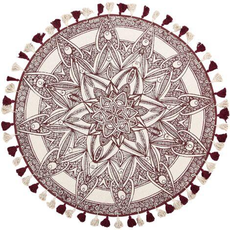 Tapis rond 120 cm à franges blanc crème et rouge OLTU