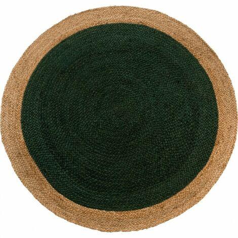 Tapis rond 120 cm en jute naturelle et teinté vert - Capri - vert