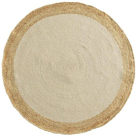 Tapis rond 120 cm jute Mario blanc/or - Blanc