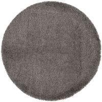 Tapis rond à poils long coloris Gris - 200 x 200 cm -PEGANE-
