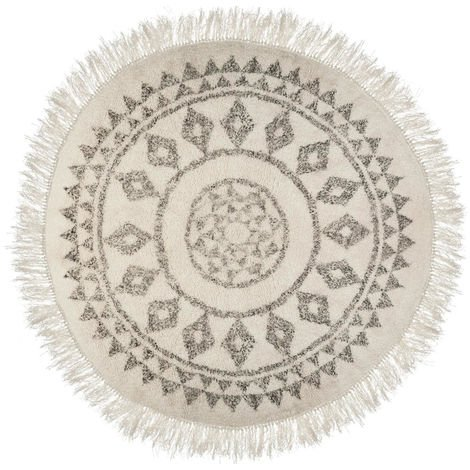 Tapis rond en coton et polyester coloris noir et blanc - Dim : D.120 cm