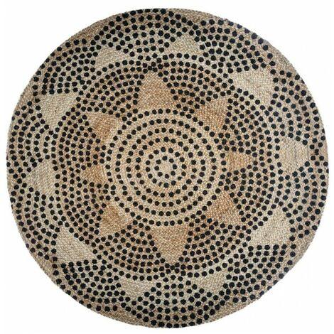 Tapis rond en jute - Rosace - D 120 cm - Beige