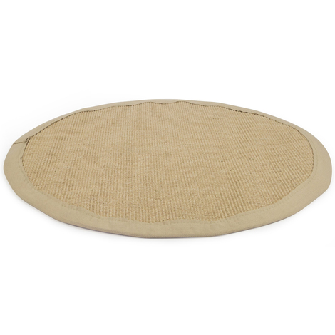 tapis rond en sisal coloris beige avec bordure en coton. Black Bedroom Furniture Sets. Home Design Ideas