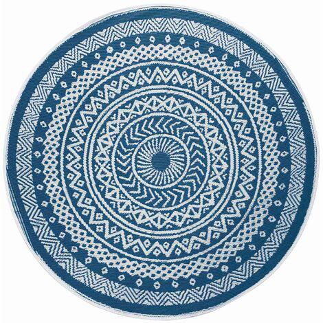 Tapis rond extérieur 150 cm Mandaly bleu