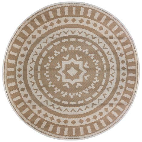 Tapis rond extérieur D. 150 cm beige