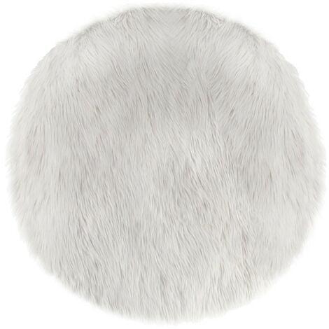 Tapis rond fausse fourrure blanc - Blanc