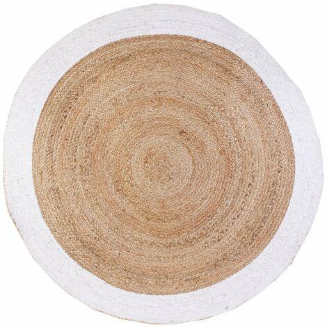 Tapis rond jute bord blanc 120 cm - Blanc